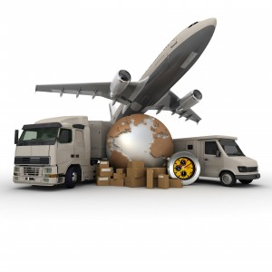 A messenger with a world map, a van, a truck and an airplane as background
